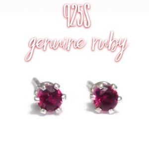 Hand crafted ruby studs